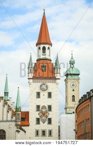 MUNICH GERMANY - MAY 9 2017 : The Old Town Hall at Marienplatz in Munich Germany.