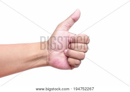Man's Hand Showing Thumb Up, Like, Isolated On A White Background