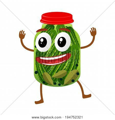 Funny pickles glass jar character, cartoon vector illustration isolated on white background. Humanized pickles with smiling faces, arms and legs. Home canning, marinade, peppercorn, bay leaf.