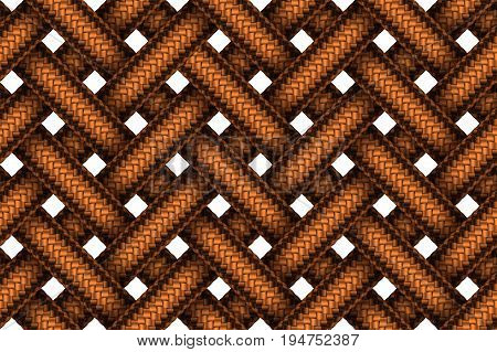 Vector seamless decorative pattern of interweaving brown leather braided cords.