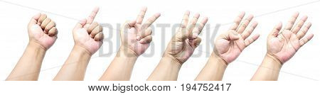 Hands Count From Zero To Five, Isolated On A White Background