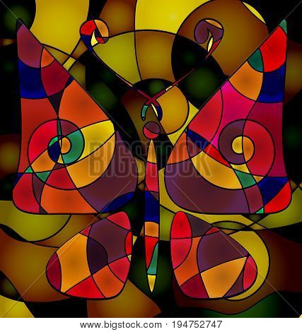 background variation vwth abstract image of colored butterfly consisting of lines