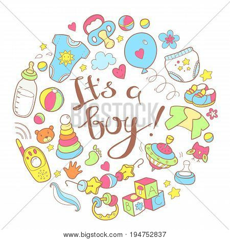 Newborn infant themed cute doodle round illustration. It is a boy. Baby care, feeding, clothing, toys, health care stuff, safety, accessories. Round illustration.