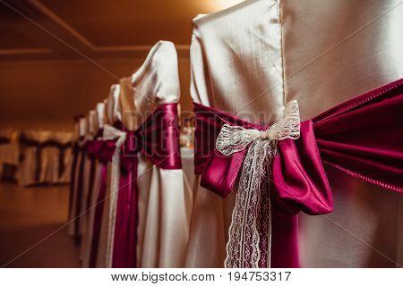Dark Pink And Milk Cloth Beautify Chairs Covered With Beige Silk