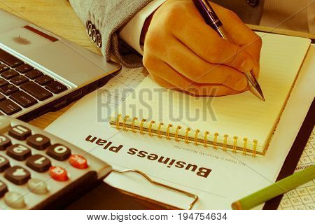 Business proposal. Opening a new business ideas. How to create business plan - Retro color