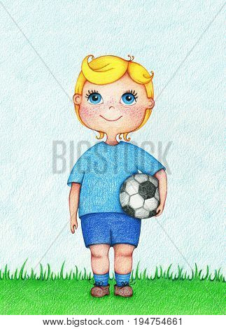 hands drawn illustration of boy European Football player by the color pencils. Character design. Creative people professions collection