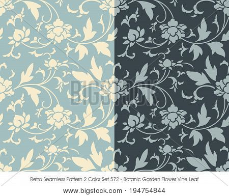 Retro Seamless Pattern 2 Color Set Botanic Garden Flower Vine Leaf