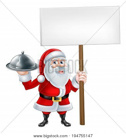 A Christmas cartoon illustration of Santa Claus holding a sign board and silver food platter plate