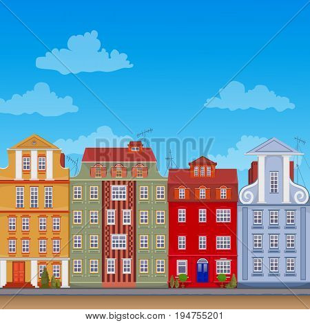Vector colorful european apartments. Old historic houses. Traditional  building. European street. Flat design.