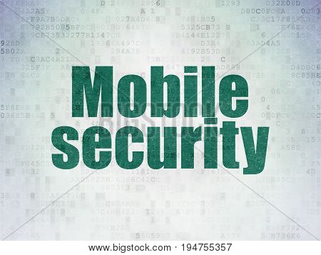 Privacy concept: Painted green word Mobile Security on Digital Data Paper background