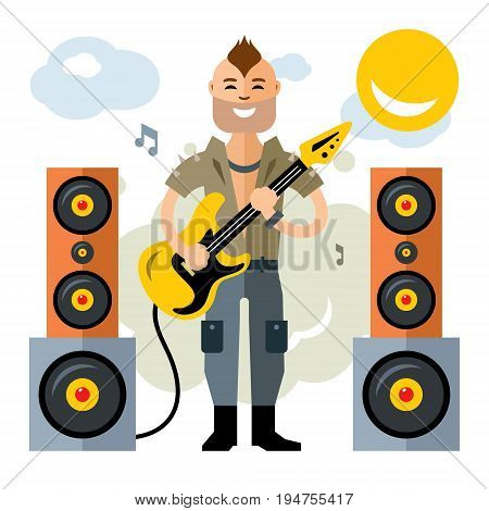 Musician punk with guitar. Isolated on a White Background. Vector
