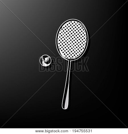 Tennis racquet with ball sign. Vector. Gray 3d printed icon on black background.