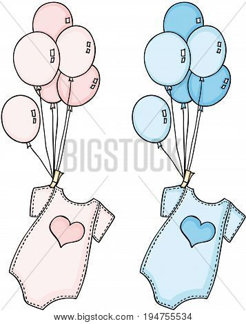 Scalable vectorial image representing a baby onesie flying with balloons, isolated on white.