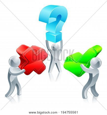 Right and wrong or decision question concept of three people, holding question mark, tick and cross symbols