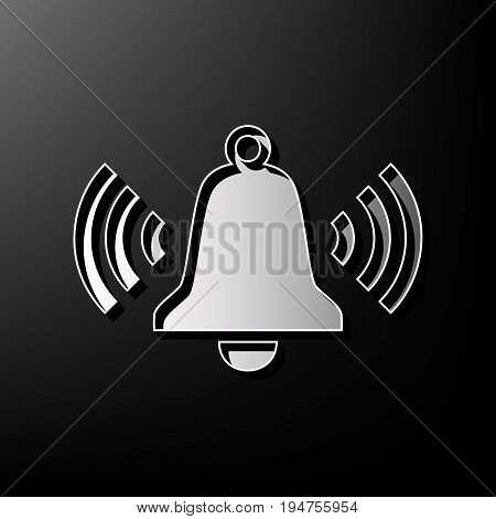 Ringing bell icon. Vector. Gray 3d printed icon on black background.