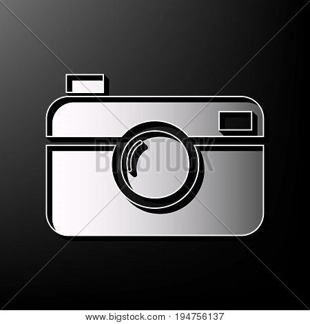 Digital photo camera sign. Vector. Gray 3d printed icon on black background.