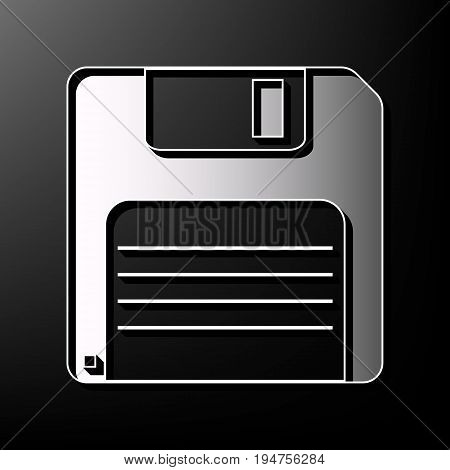 Floppy disk sign. Vector. Gray 3d printed icon on black background.