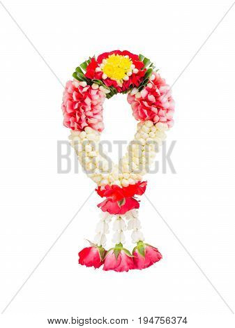 Beautiful Thai Jasmine and red roses garland decorated with green leaves yellow Mexican marigold bud flower (Tagetes erecta) & white Crown flower isolated on white background (clipping path included)
