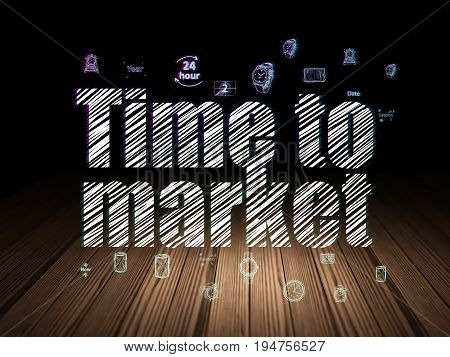 Time concept: Glowing text Time to Market,  Hand Drawing Time Icons in grunge dark room with Wooden Floor, black background
