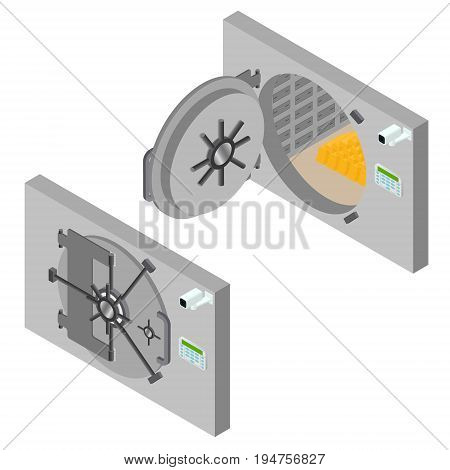 Bank Saving Door Set Isometric View Finance Security and Protection Mechanism Concept. Vector illustration