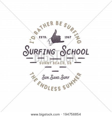 Surfing school vintage emblem. Retro logo design with shaka sign and typography elements. Stock vector isolated on white style background.
