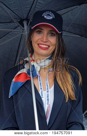 Magny-cours, France, July 1, 2017 : Smile Of A Grid Girl. The First French Historic Grand Prix Takes