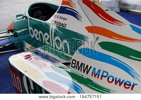 Magny-cours, France, July 1, 2017 : Benetton F1 In Exhibition. The First French Historic Grand Prix