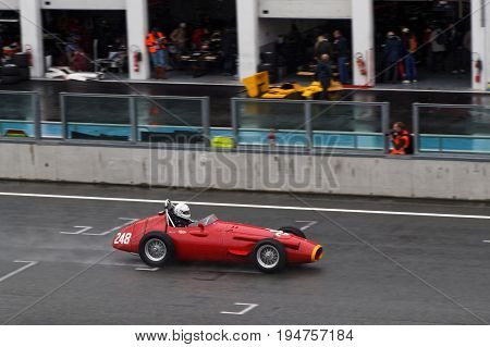 Magny-cours, France, July 1, 2017 : Maserati 250 F. The First French Historic Grand Prix Takes Place