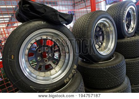 Magny-cours, France, July 1, 2017 : Tyres In The Pits. The First French Historic Grand Prix Takes Pl
