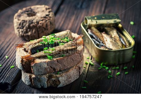 Healthy Sandwich With Sardines, Chive And Wholegrain Bread