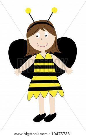Cute Happy Halloween Holiday Kid in Bumblebee Costume