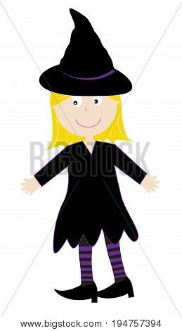 Happy Halloween Holiday Kid in Witch Costume