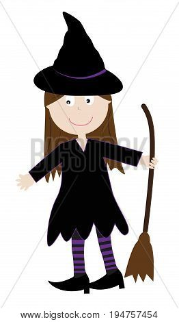 Happy Halloween Holiday Witch with Broom and Hat