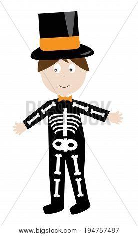 Happy Halloween Holiday Kid Dressed in Skeleton Costume