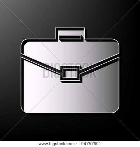 Briefcase sign illustration. Vector. Gray 3d printed icon on black background.