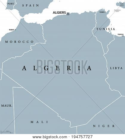 Algeria political map with capital Algiers. Peoples Democratic Republic of Algeria. Arab country in the Maghreb region of North Africa. Gray illustration on white background. English labeling. Vector.