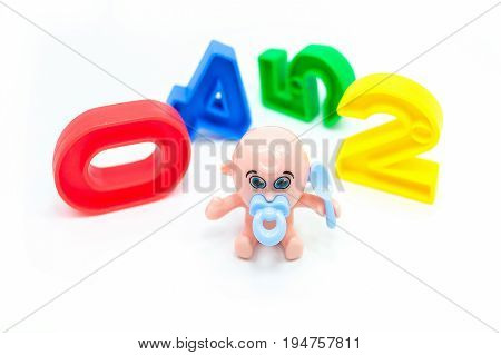 Doll And Colorful Plastic Numbers, Isolated On A White Background