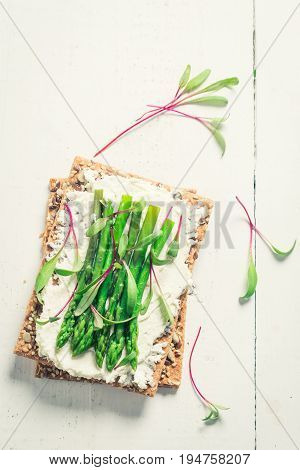 Top View Of Sandwich With Asparagus And Fromage Cheese