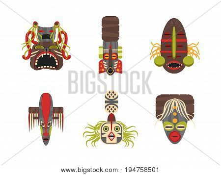 Cartoon Traditional Religious Totem Color Icons Set Flat Style Design Element Ceremonial and Souvenir Exotic Product. Vector illustration