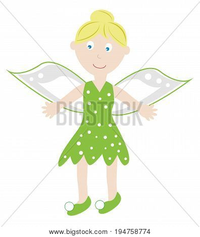 Cute Happy Hallowen Fairy in Costume with Wings