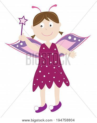 Cute Happy Halloween Princess with Wings and Wand