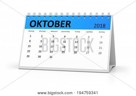 3d rendering of a german language table calendar for your events 2018 october