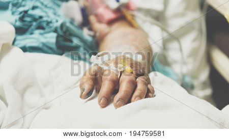 Patient In The Hospital With Saline Intravenous