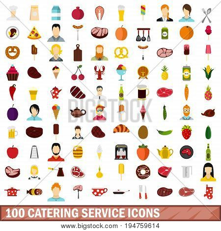 100 catering service icons set in flat style for any design vector illustration