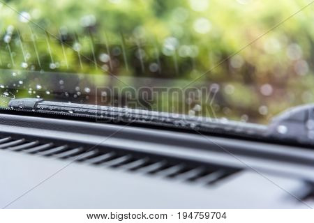 Car Wiper For Clean Water Drop On Windshield