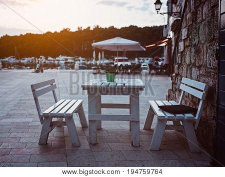 Restaurant Dining Table Outdoors