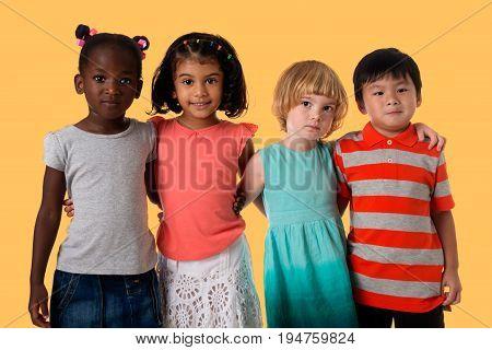 Group of multiracial happy kids portrait. Studio