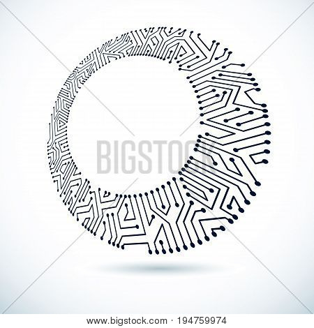 Technology communication cybernetic element. Vector abstract illustration of circuit board. Modern innovation technologies backdrop with clear copy space.
