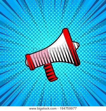 Loudspeaker, cartoon style poster background, speech concept
