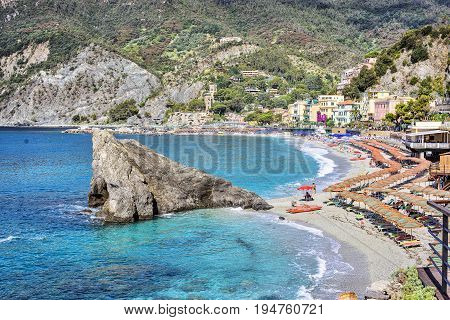 Monterosso al Mare Italian riviera. Sea and mountain view. Beach Liguria